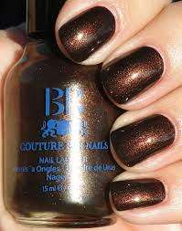 best brown with red and gold glitter long lasting nail polish color