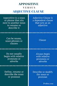 difference between appositive and adjective clause learn english