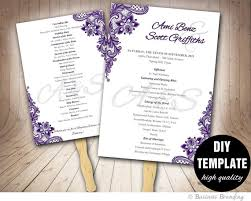 wedding fan programs diy lace purple wedding fan program diy instant downloadprintable