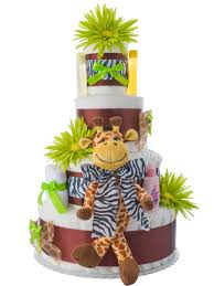 safari giraffe 4 tier diaper cake by lil u0027 baby cakes