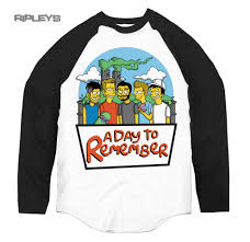 official t shirt a day to remember baseball simpsons logo all
