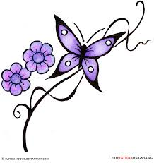 purple lotus flowers and butterfly on lowerback