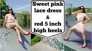 crossdresser stockings high heels crossdresser sweet pink lace dress and red steve madden high heels