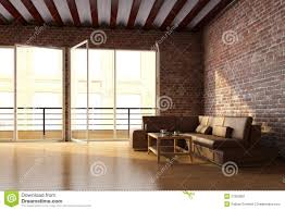 loft interior with brick wall and coffee table stock photo image