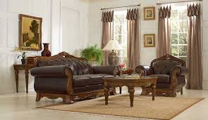 Classic Living Room Furniture Sets Brown Leather Classic Living Room 14379