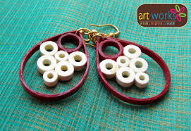 eco earrings eco friendly handmade quilled earrings quilled white