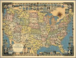 A Map Of The United States Of America by America The Wonderland A Pictorial Map Of The United States