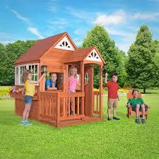 backyard discovery deluxe wooden cedar mansion outdoor playhouse