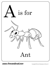 a is for ant coloring page tim u0027s printables