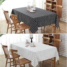 Dining Room Table Cover Cotton Linen Print Check Grid Tablecloth Cover Table Deco Black