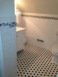 Small Bathroom With Black Hexagon by Black And White Hex Tile Bathroom Thesouvlakihouse Com