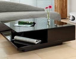 tisch wohnzimmer couch tisch schwarz hochglanz mit schublade 100x100cm quadratisch