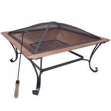 Copper Firepit Titan 33 Square Copper Pit Wood Burning Patio Deck Grill