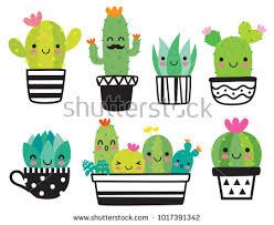 cute plant cute succulent cactus plant happy face stock vector 1017391342
