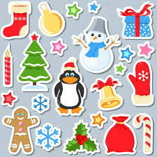 christmas stickers set of christmas stickers royalty free cliparts vectors and