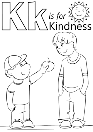 letter k is for kindness coloring page free printable coloring pages