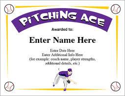 pitching ace baseball certificate award template