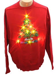 lightup ugly christmas sweater jockey unisex red background