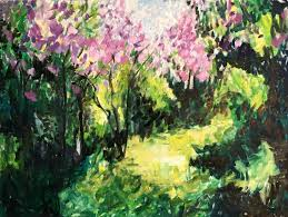 lilacs in the spring original oil painting 32x24
