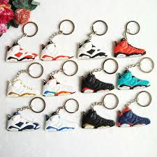 woman necklace holder images Mini silicone sneaker jordan 6 keychain key chain shoes car key jpg
