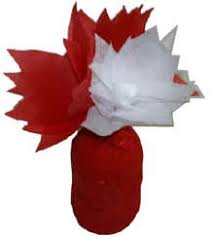 canada flowers canada day tissue paper flowers and juice jar vase