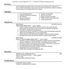 Math Teacher Sample Resume by Surprising Design Ideas Sample Resume For Teachers 11 Best 25