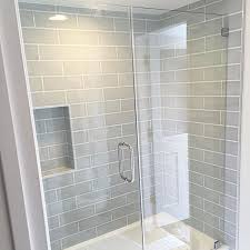 Shower Bathroom Tile Shower Wall Tile Gray Blue Subway 36th Place Pinterest Wall