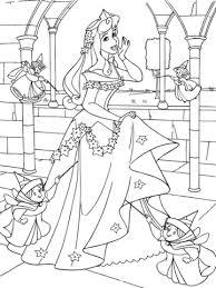 princess aurora good fairies coloring free printable