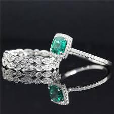 wedding ring set of 6mm emerald ring engagement ring 14k white