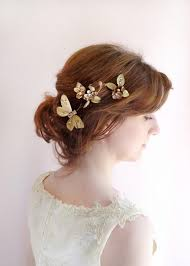 butterfly hair bronze gold hair jewelry bridal hair pins formal hair