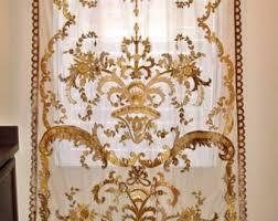 italian embroidered velvet fabric sheer drapes panel burgundy