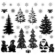 White Christmas Tree With Black Decorations 4 231 Christmas Tree Black Silhouette Stock Illustrations