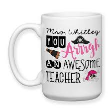 coffee mug personalized teacher gift 002 pink funny pirate