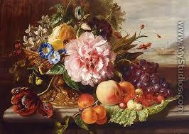 flowers and fruit a still with flowers and fruit by helen augusta hamburger