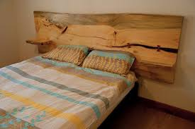blue stain pine headboard live edge w floating end by mezworks