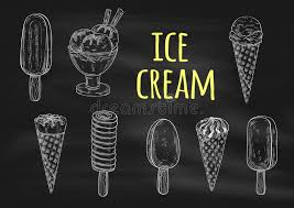 ice cream chalk sketch icons on blackboard stock vector image
