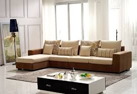 Corner Sofa In Living Room - modern brown washable velvet fabric corner sofa set living room