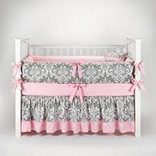 Sofia Bedding Set Damask Gray Pink Baby Bedding 5pc Crib Set By