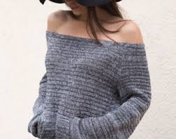 loose knit top plus size sweater off shoulder top women
