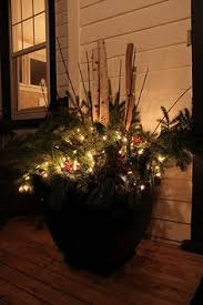 Outdoor Christmas Decorations Pots by Old Wooden Sled Decor Made With Fresh Greenery Lights