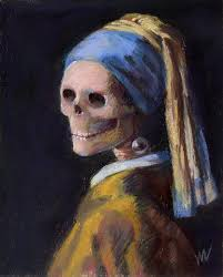 girl with the pearl earring painting the skelly with a pearl earring marfia