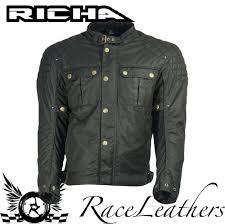 white motorbike jacket richa scrambler black wax cotton short classic style motorcycle