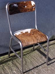 vintage french burnished aluminium cowhide upcycled designer chair
