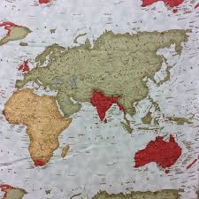 Map Quilt Map Of The World Atlas Continent Quilt Cotton Quilting Fabric Mo08