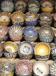 Morocco Home Decor Hand Painted Ceramic Bowls At A Street Market In Marrakech