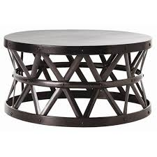 Overstock Round Coffee Table - this drum cross coffee table combines modern appeal with a touch