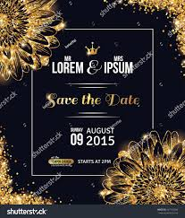 Wedding Invitation Card Design Template Wedding Invitation Card Design Gold Confetti Stock Vector