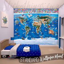 Kids World U0027s Adventures Of by Wall World Map Mural Home Design