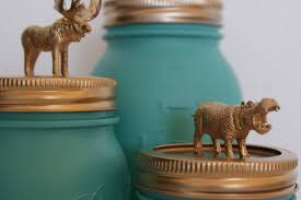 Turquoise Home Decor Accessories by Turquoise Mason Jar With Golden Lid Animal Hand Painted Home