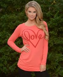red love heart coral tunic affordable modest boutique clothes